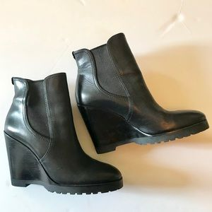 Michael Kors Black Leather Wedge Booties Size 9